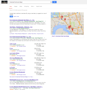 Search Term:'Mexican Food San Diego' How it looks now..