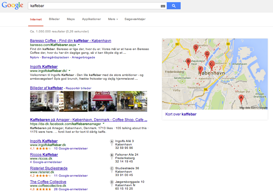 Google Places Search Results in Copenhagen..
